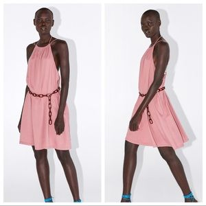 NWT. Zara Mauve Liocell Halter Neck Dress. Size M.